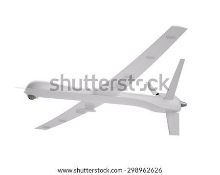 White unmanned aerial vehicle (UAV) isolated on white - stock photo
