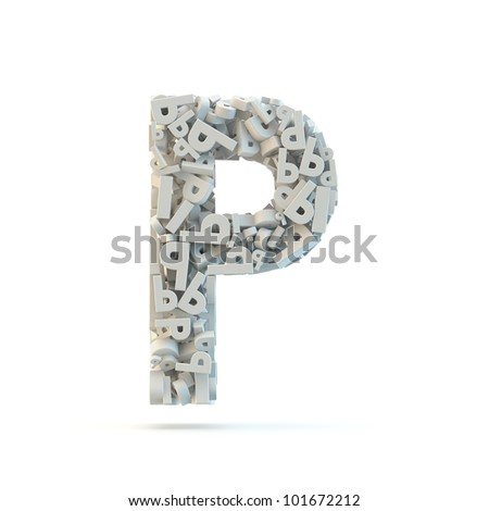 White uppercase letter P isolated on white. Part of high resolution graphical alphabet set.