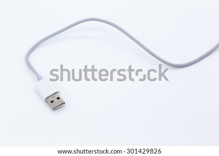 White USB cable isolated on white background