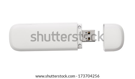 White usb flash drive isolated on the white background - stock photo