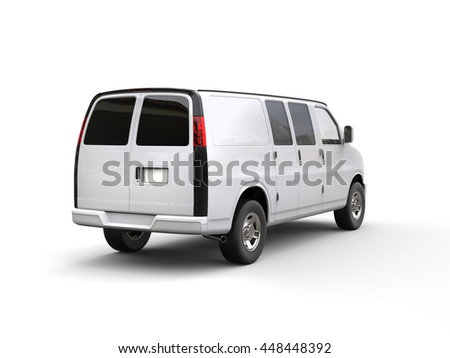 White van - back view - studio lighting shot - isolated on white background - 3D illustration