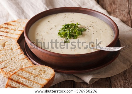 White vegetable cream soup close up in a bowl on the table. horizontal