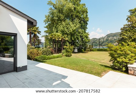 white villa, view from the patio, detail - stock photo