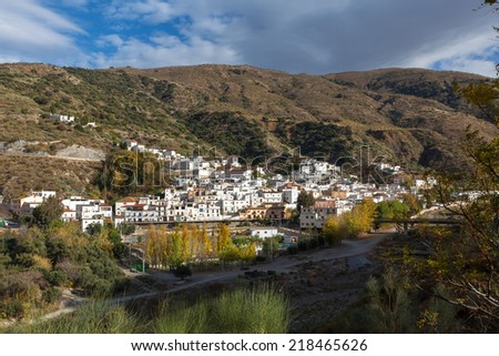 White village high in the sierra nevda in spain