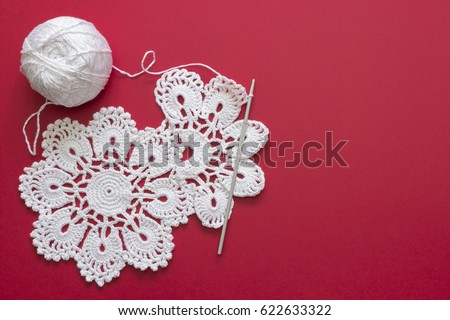 White Vintage Crochet Doily Cotton Yarn Stock Photo Image Royalty