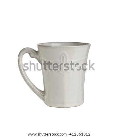 white vintage cup isolated on white background