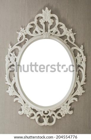 White vintage frame isolated on gray background  - stock photo
