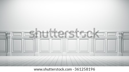 White vintage interior with wall paneling background 3d render - stock photo