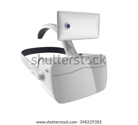 White VR headset and smartphone isolated on white background. 3D rendering image with clipping path. Original design.