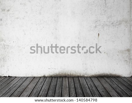 White Wall Black Wood Floor Stock Photo Royalty Free 140584798