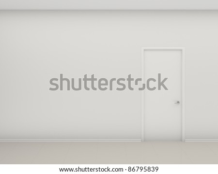 White wall and the closed door - stock photo
