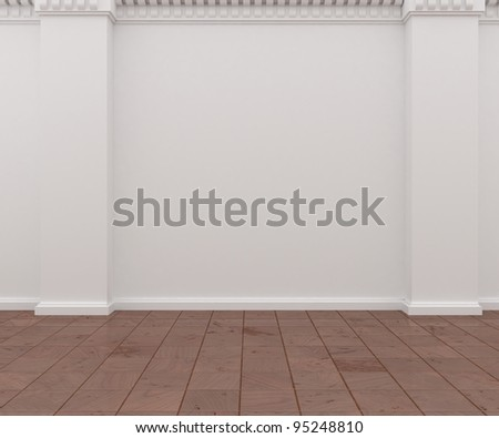 white wall and wooden floor - stock photo
