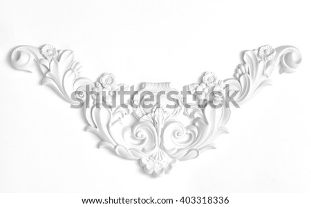 White wall decorated with stucco decorative elements of the Renaissance, Baroque. - stock photo