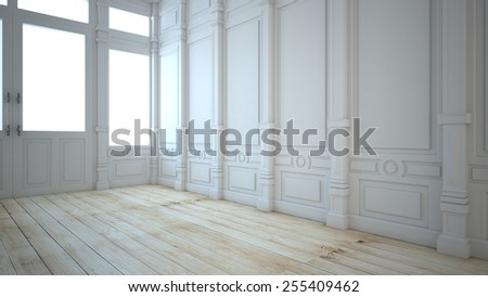 White wall in a classic style and a beautiful wooden floor 3d render - stock photo