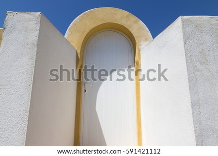 White wall in Benissa coast with blue sky Alicante Spain