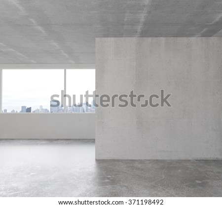 White wall in empty loft room with concrete floor 3D Render - stock photo
