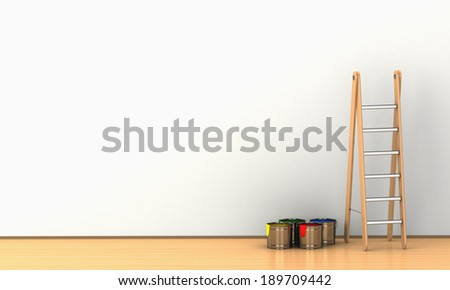 white wall painting - stock photo