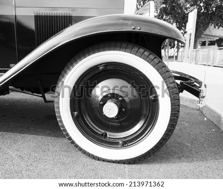 white wall tire of an old car