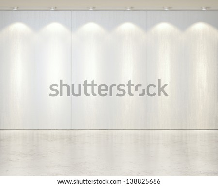 white wall, white floor, lamps - stock photo