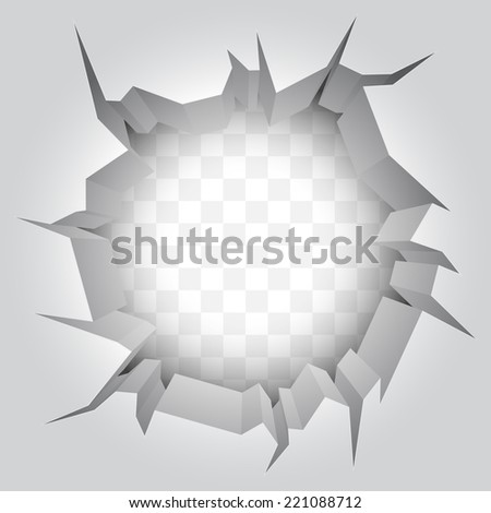White wall with big crack. - stock photo