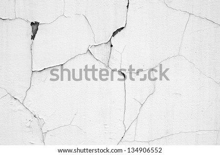 white wall with cracks - stock photo