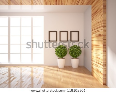 white wall with frame - stock photo