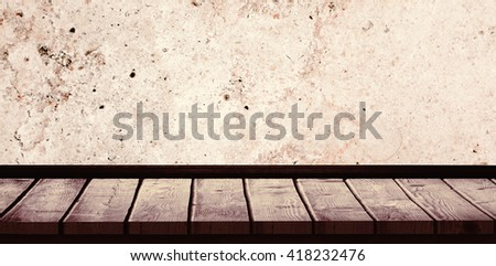 White wall with parquet against dirty old wall background - stock photo