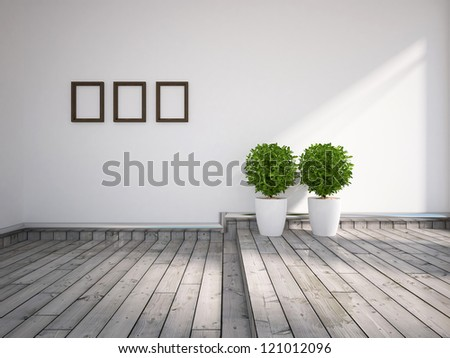 white walls and white wooden floor - stock photo
