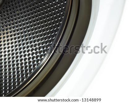 White washing machine with open door - stock photo