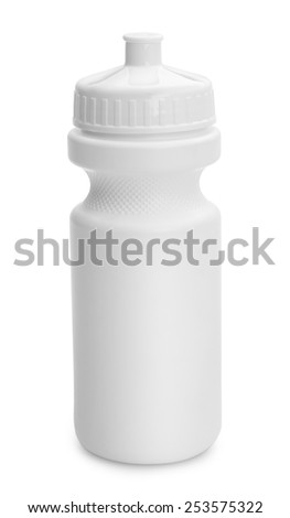 White Water Bottle with Copy Space Isolated on White Background. - stock photo