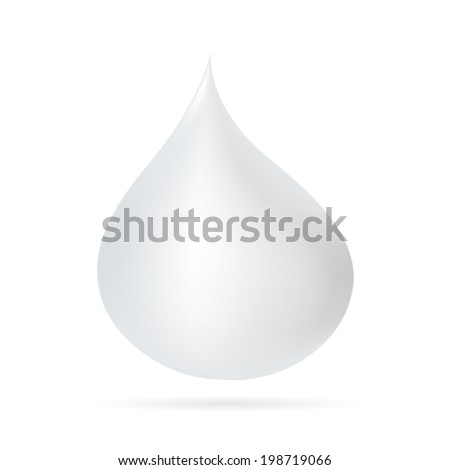 White Water Drop   Illustration. Isolated.