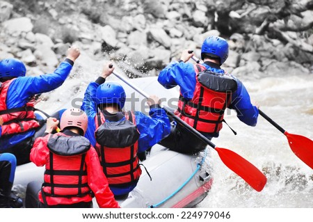 White water rafting - stock photo