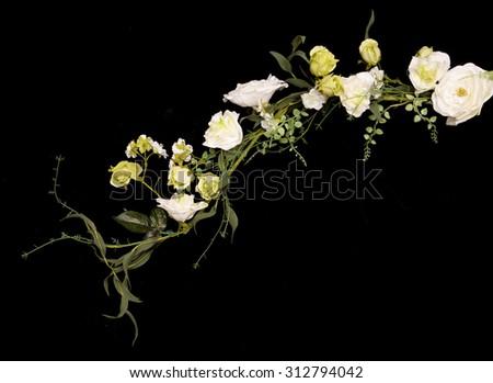 white wedding artificial flower garland cutout - stock photo