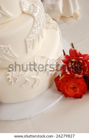 White Wedding Cake - stock photo