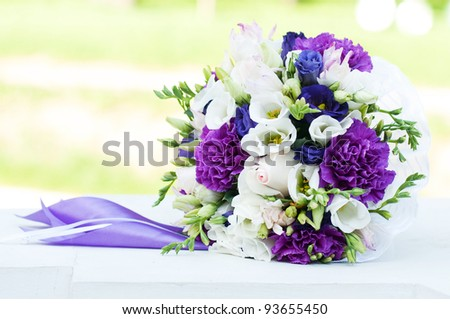 White wedding flower bouquet - stock photo