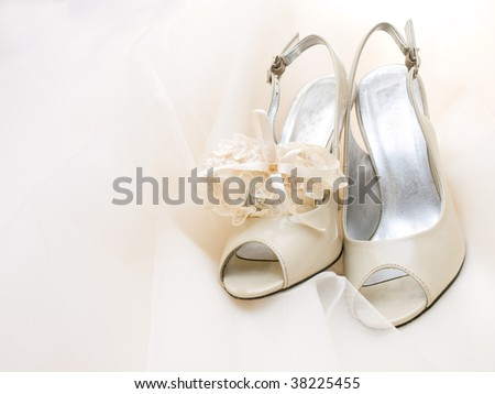 white wedding shoes covered with veil and garter
