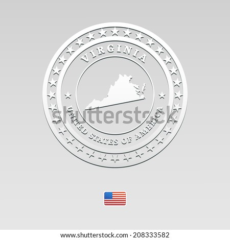 white welt label with map of Virginia - stock photo