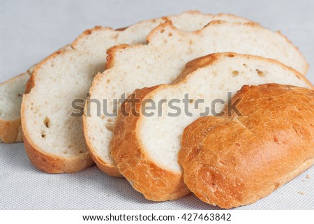 White wheat bread sliced on the table