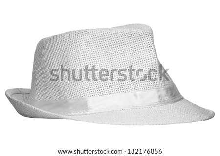 White wicker hat isolated on white background  - stock photo