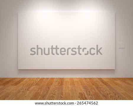 White Wide Blank Canvas In An Exhibition - stock photo