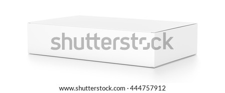 White wide flat horizontal rectangle blank box from side angle. 3D illustration isolated on white background. - stock photo