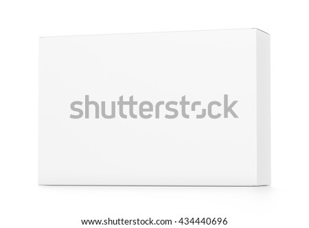 White wide horizontal rectangle blank box from front far side angle. 3D illustration isolated on white background.