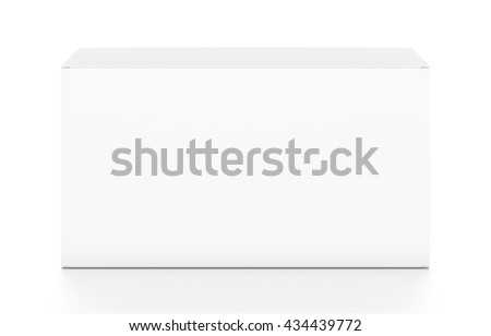 White wide horizontal rectangle blank box from top front angle. 3D illustration isolated on white background. - stock photo