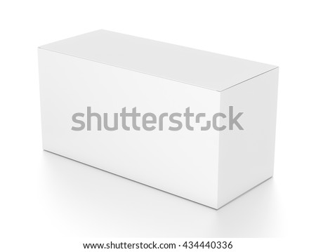 White wide horizontal rectangle blank box from top side angle. 3D illustration isolated on white background.