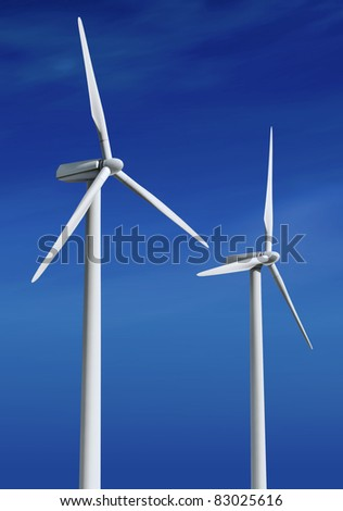 white wind turbine with path generating electricity on blue sky