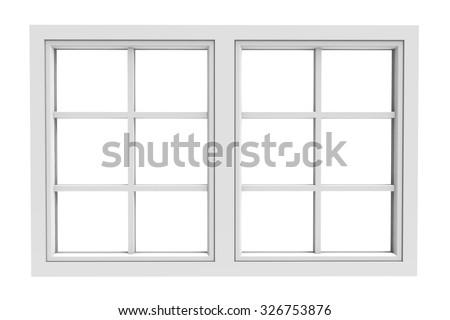 white window frame isolated on white background - stock photo