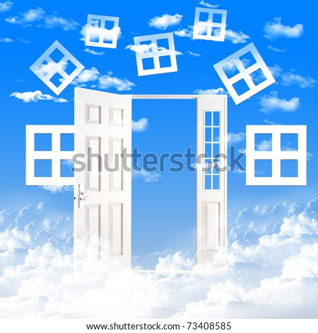 White windows and doors against the blue sky