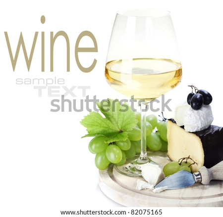 white wine and cheese over white  (with sample text) - stock photo