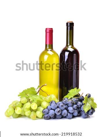 White wine and red wine - stock photo