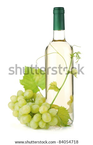 White wine bottle and grapes. Isolated on white background